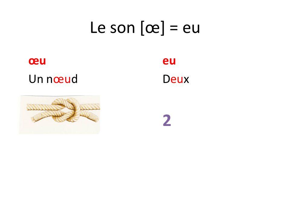 Le son [œ] = eu œu eu Un nœud Deux 2